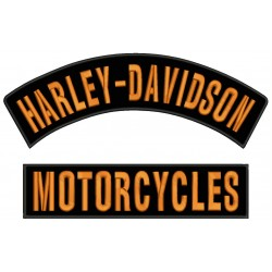 HARLEY DAVIDSON MOTORCYCLES Embroidered Patches (Set 2 pcs. Top and Bottom)