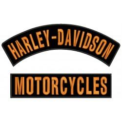 Parches Bordados HARLEY-DAVIDSON (Bordado NARANJA / Fondo NEGRO)