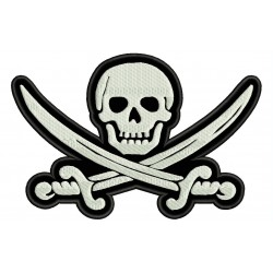 PIRATE SKULL AND SWORD CROSS Embroidered Patch