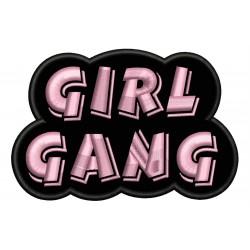 Parche Bordado GIRL GANG (Bordado ROSA / Fondo NEGRO)