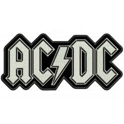 Parche Bordado AC-DC (Bordado BLANCO / Fondo NEGRO)