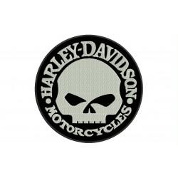 Parche Bordado HARLEY DAVIDSON CALAVERA (Bordado BLANCO / Fondo NEGRO)