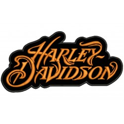 Parche Bordado HARLEY-DAVIDSON LETRAS (Bordado NARANJA / Fondo NEGRO)