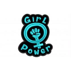 Parche Bordado GIRL POWER (Bordado AZUL CELESTE / Fondo NEGRO)