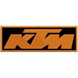 Parche Bordado KTM (Bordado NARANJA / Fondo NEGRO)
