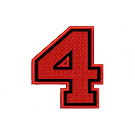 """NUMBER FOUR """"4"""" Embroidered Patch"""