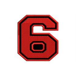 "SIX NUMBER ""6"" Embroidered Patch"