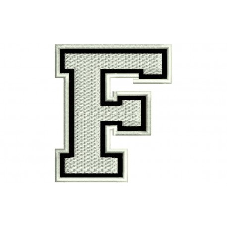 """LETTER F Embroidered Patch (""""COLLEGE"""" Font)"""