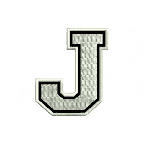 """LETTER J Embroidered Patch (""""COLLEGE"""" Font)"""