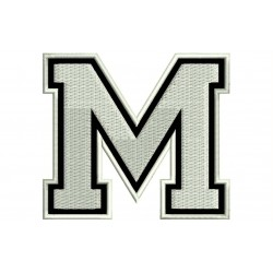 "LETTER M Embroidered Patch (""COLLEGE"" Font)"