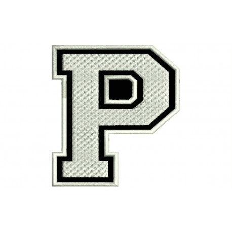 """LETTER P Embroidered Patch (""""COLLEGE"""" Font)"""