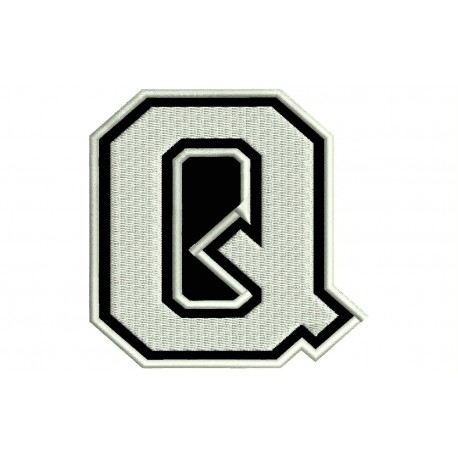 """LETTER Q Embroidered Patch (""""COLLEGE"""" Font)"""