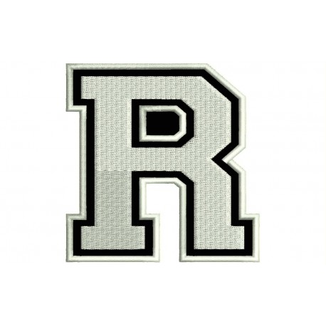 """LETTER R Embroidered Patch (""""COLLEGE"""" Font)"""