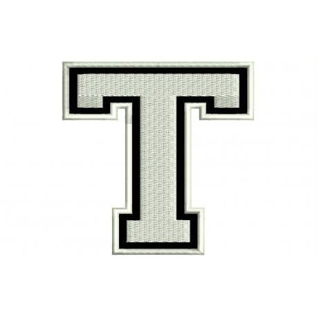 """LETTER T Embroidered Patch (""""COLLEGE"""" Font)"""
