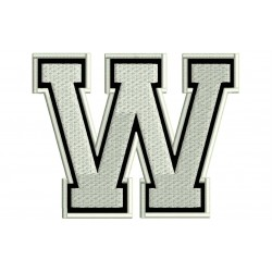 """LETTER W Embroidered Patch (""""COLLEGE"""" Font)"""