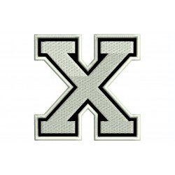 """LETTER X Embroidered Patch (""""COLLEGE"""" Font)"""