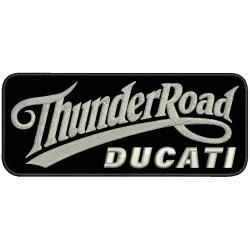 Parche Bordado THUNDER ROAD DUCATI (Bordado PLATA / Fondo NEGRO)