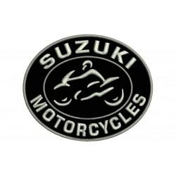 Parche Bordado SUZUKI MOTORCYCLES (Bordado PLATA / Fondo NEGRO)