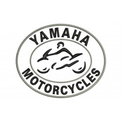 Parche Bordado YAMAHA MOTORCYCLES (Bordado NEGRO / Fondo BLANCO)