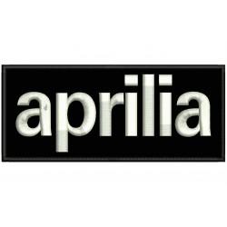 Parche Bordado APRILIA (Bordado BLANCO / Fondo NEGRO)