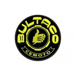 Parche Bordado BULTACO (Bordado AMARILLO / Fondo NEGRO)