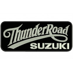 Parche Bordado THUNDER ROAD SUZUKI (Bordado PLATA / Fondo NEGRO)