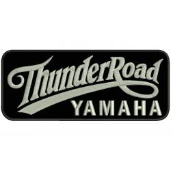 Parche Bordado THUNDER ROAD YAMAHA (Bordado PLATA / Fondo NEGRO)