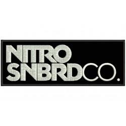 Parche Bordado NITRO SNOWBOARD (Bordado BLANCO / Fondo NEGRO)