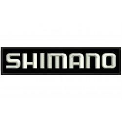 Parche Bordado SHIMANO (Bordado BLANCO / Fondo NEGRO)