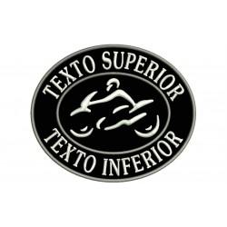 Parche Bordado Personalizable MOTOCICLISMO (Bordado BLANCO / Fondo NEGRO)