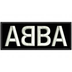 Parche Bordado ABBA (Bordado BLANCO / Fondo NEGRO)