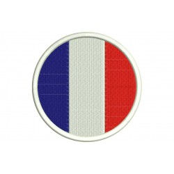 FRANCE FLAG (Circle) Embroidered Patch