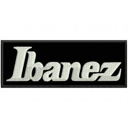 Parche Bordado IBANEZ (Bordado BLANCO / Fondo NEGRO)