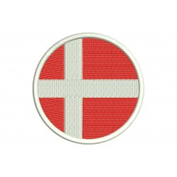 DENMARK FLAG (Circle) Embroidered Patch