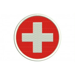 SWITZERLAND FLAG (Circle) Embroidered Patch