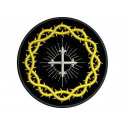 CROWN of THORNS and CROSS Embroidered Patch