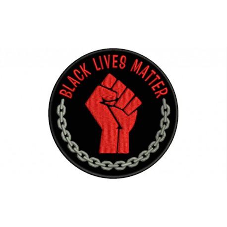 Parche Bordado BLACK LIVES MATTER (Bordado ROJO / Fondo NEGRO)