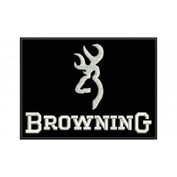 Parche Bordado BROWNING (Bordado BLANCO / Fondo NEGRO)