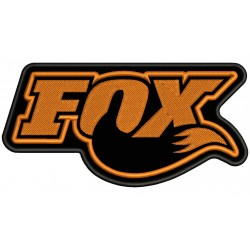 Parche Bordado FOX RACING SHOX (Bordado NARANJA / Fondo NEGRO)