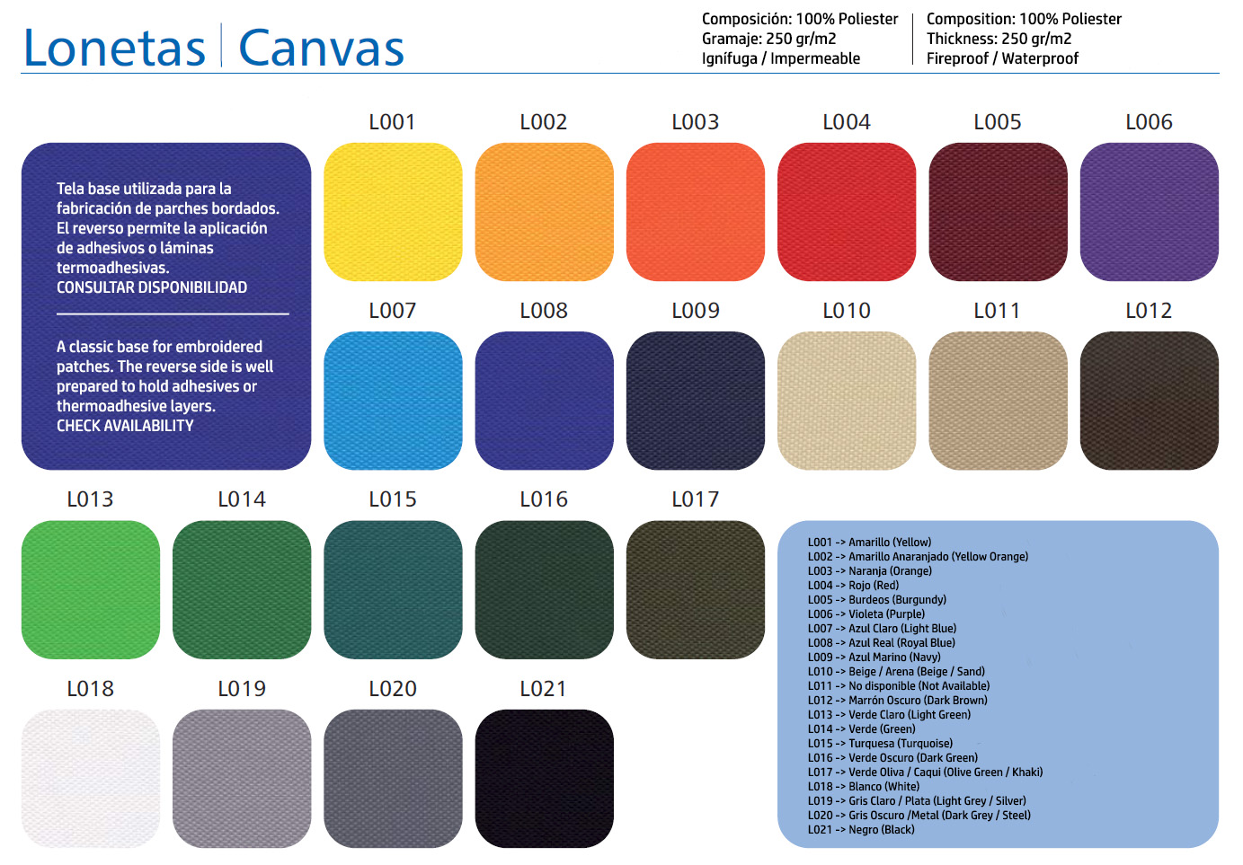 Canvas Color Chart